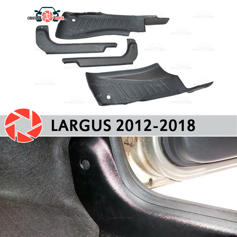 Door sill trim carpet for Lada Largus 2012-2018 inner sill step plate trim protection carpet accessories car styling decoration free shiping 2012 20132014 isuzu d max door sill plat pedal isuz d max led door sill with light stainless steel door sill acces