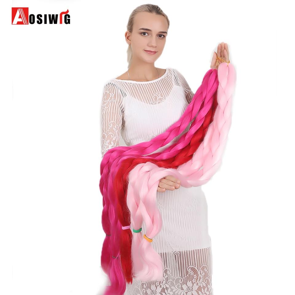 AOSIWIG 1 Pcs/Lot Synthetic Hair Jumbo Braids African Crochet Braiding Hair 165g/Pack Hair Extensions Red Brown
