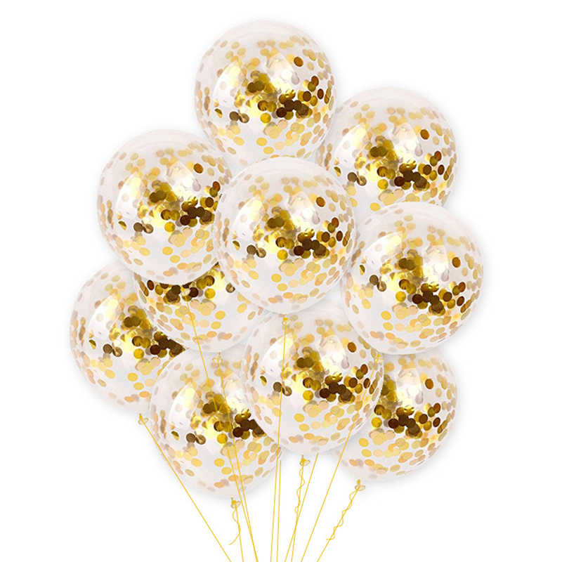 10Pcs 12inch confetti balloon transparent latex balloon with gold silver confetti for party birthday wedding decoration supplies