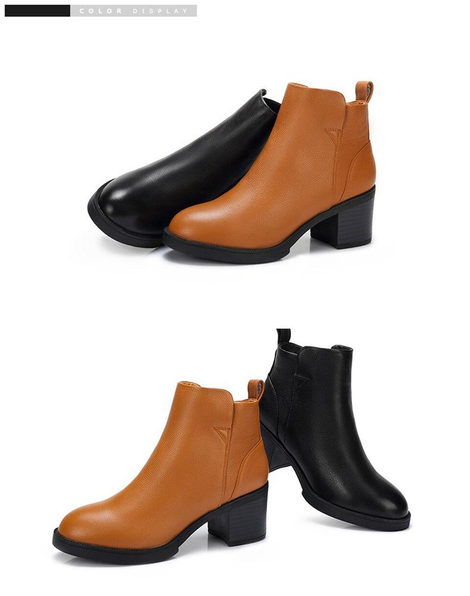 CAMEL Frauen Leder Kurze Stiefel Schuhe Winter Probe Flache Martin Kurze Stiefel Frauen Feste Starke Ferse Komfortable Schuhe