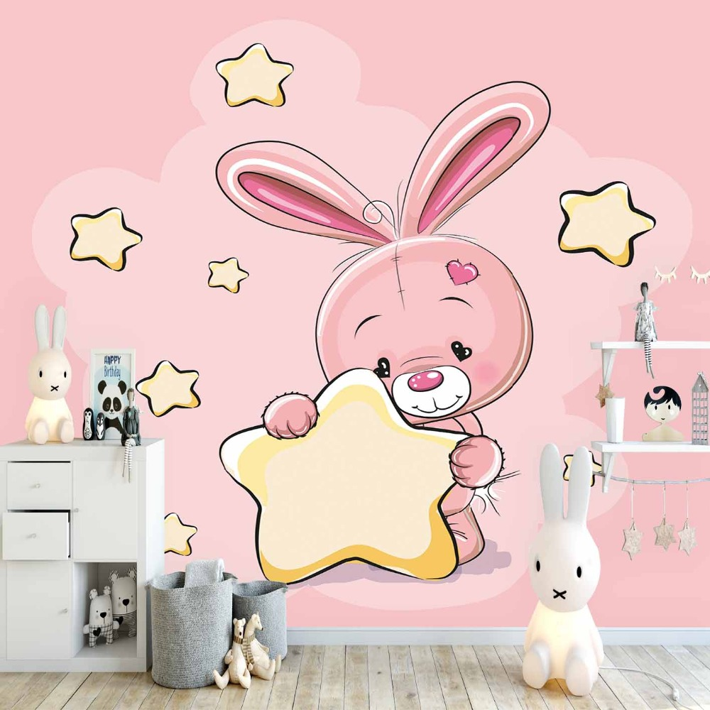 Else Pink Floor On Yellow Star Moon Cute Rabbit 3d Print Cartoon Cleanable Fabric Mural Kids Children Room Background Wallpaper