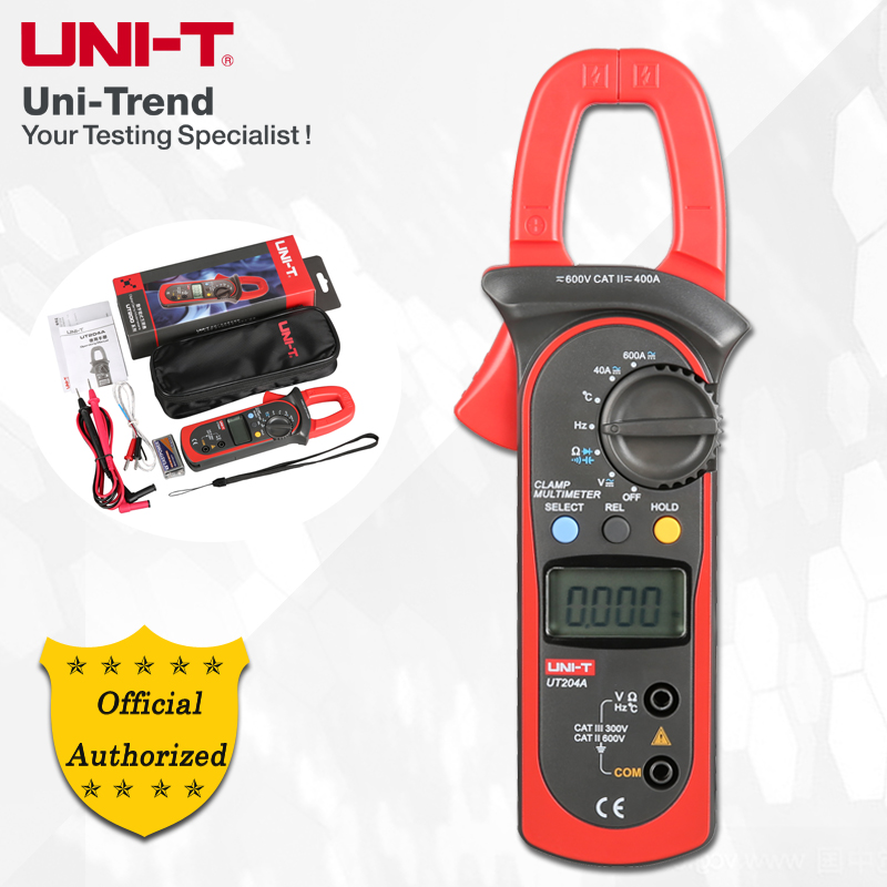 цена UNI-T UT203/UT204/UT204A AC/DC Digital Clamp Meter; 400A-600A Digital Ammeter, Resistance/Diode/Capacitance/Temperature test