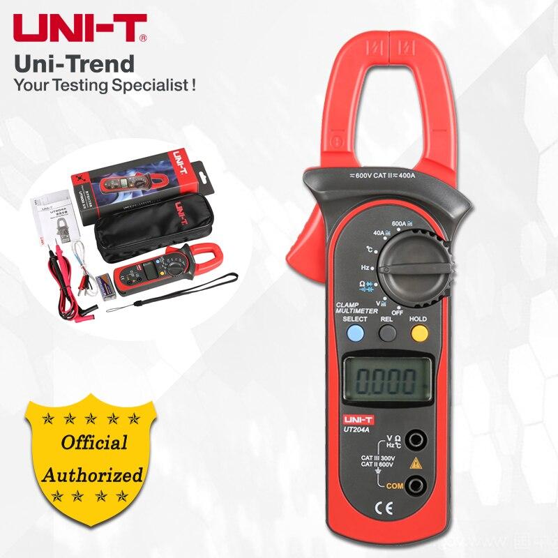 UNI-T UT203/UT204/UT204A AC/DC Digital Clamp Meter; 400A-600A Digital Ammeter, Resistance/Diode/Capacitance/Temperature test ulyde uni t ut202a ac clamp meter 600a