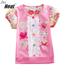 NEAT Baby Girl short-sleeved Children's clothes little princess clothing cotton comfort daily costumes flowers girls T-shirl Top