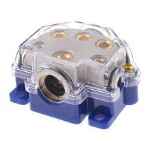 X Autohaux Audio Vehículo Cinco Vías Portafusibles Bloque de Distribución de Energía Azul
