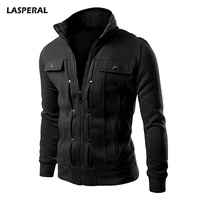 LASPERAL 2017 Jackets Men Winter Warm Stand Collar Jacket Long Sleeve Zipper Mens Coat Bomber Button