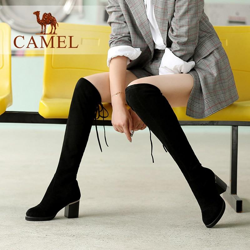KAMEL Frauen Shose Winter Über Das Knie Hohe Stiefel Stretch Stoff Lange Oberschenkel Stiefel Mikrofaser Leder Runde Kappe Warme Plüsch stiefel