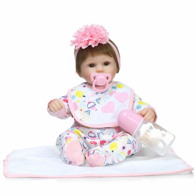 Reborn Baby Doll Soft Silicone Vinyl 16 inch Lovely Lifelike Cute Baby Girl Toys