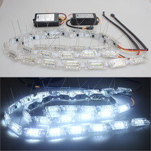 2x Car Flexible White/Amber Switchback LED Knight Rider Strip Light for Headlight Sequential Flasher Color DRL Turn Signal Lamp
