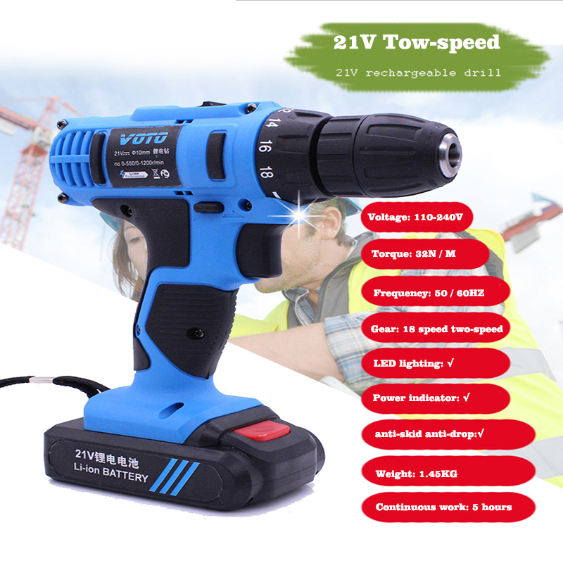 21V Battery Screwdriver Electric Screwdriver Tow-speed Electric Cordless Drill Lithium Rechargeable Screw Gun Power Tools 18v 4000mah replacement lithium ion battery electric screwdriver li ion battery for bosch power tools electric cordless drill