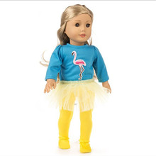 Fit 18 inch 40-43cm Doll Clothes Born New Baby 2 pieces Red, yellow, blue Flamingo yarn suit accessories For Gift