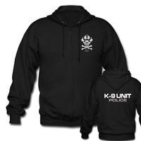 K-9 Special Unit Police Dog Foot Canine Men's Black Zipper Hoodies men sweatshirts high quality men jacket for fans Big Size