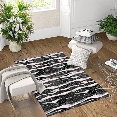 Else Black Pink Waves Lines Geometric  3d Pattern Print Non Slip Microfiber Living Room Decorative Modern Washable Area Rug Mat
