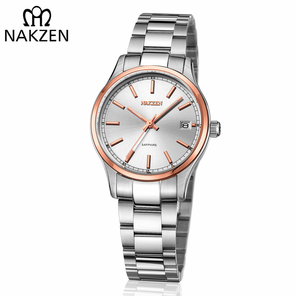 NAKZEN Women Casual Business Quartz Watches Ladies Top Brand Luxury Female Rose Gold Wrist Watch Girl Clock Relogio Feminino nakzen quartz women watches top brand fashion ladies bracelet watch rhinestone crystal wrist watch female hers relogio feminino