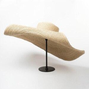 Image 2 - Elegant Natural 25cm Extra Large Raffia Hat Wide Brim Kentucky Derby Hat Women Floppy Summer Beach Hat Big Straw Sun Hat chapeau