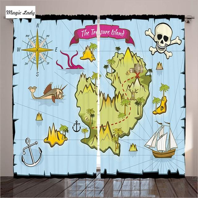 gordijnen voor kinderkamer slaapkamer schat eilanden cartoon nautische ontwerp piraten fictieve vis decor 2 panelen set