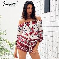 Simplee Apparel Sexy Off Shoulder Red Floral Print Elegant Jumpsuit Romper 2016 Summer Style Beach Short