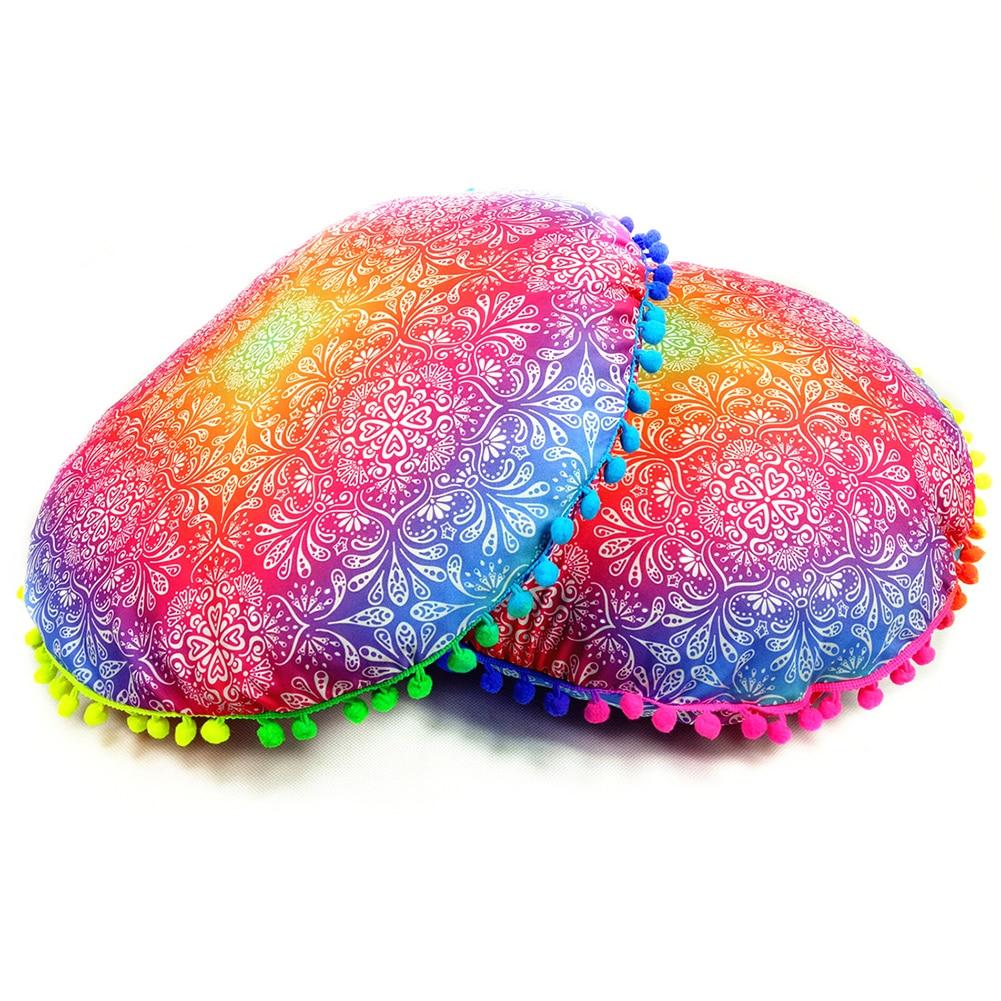 17inch Round Pillow Case Decorative Colorful Pom Pom Trim Boho