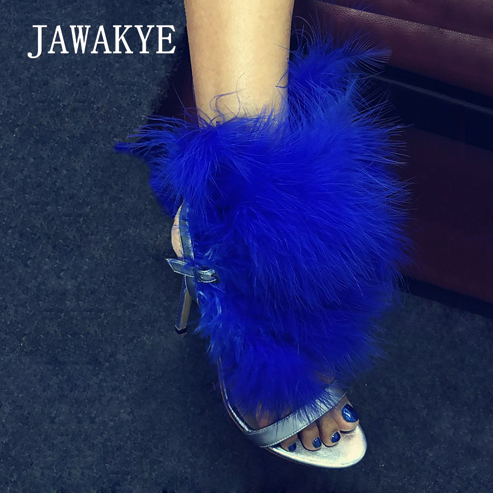 JAWAKYE Unique design Blue Feather Sandals Women ankle strap Sexy Club Party Sandals Shoes Woman Big fur Cross High Heels Shoes