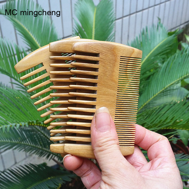 MC Brand Green Sandalwood Beard Comb Pocket Handmade Hair Combs Pure Natural Wood Comb Hair Brush Professional	Hairbrush 9-3