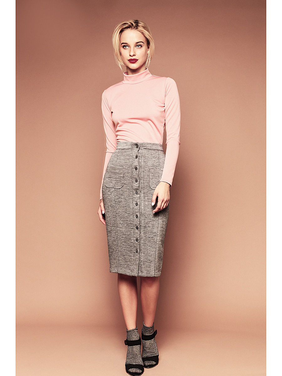 Skirt MIDI button. Color gray high waisted bodycon midi skirt