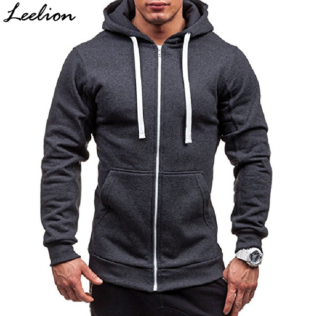 9cd1e869bb8 LeeLion 2018 Spring Hoodies Men Solid Zipper Cardigan Sweatshirts Slim Fit  Sportswear Fashion Casual Tracksuit Dropshipping