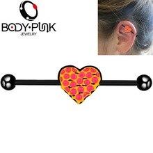Body Punk Heart Center Industrial Piercing Barbell Cartilage Earring Long Straight Screw Helix Ear Jewelry