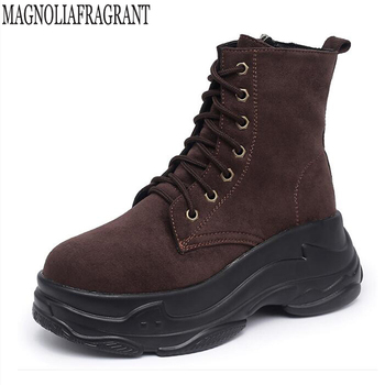 Side zipper plus velvet flat boot British wind women shoes Thick bottom Non-slip  woman boot keep warm casual short boot mm200