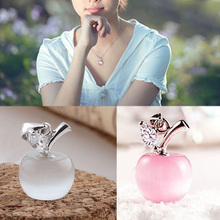 1 PCS Without Chain Cute Kawaii Women Lady Girls Silver Plated Clavicle Pendant Charm Small Apple Opal Pendant