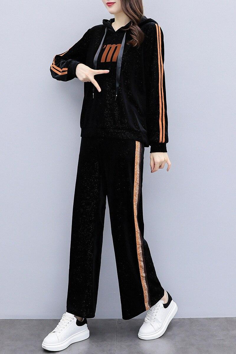 5xl Due Più Tuta Allentato Formato Lunga Pantaloni Del Velluto Set Manica Pezzi Costume Nero Di Felpe Delle Donne Il A E Casual 00dqwr