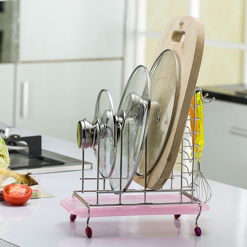 Multi-function Stainless Steel Cutting Board Holder Knife Pot Cover Holder Kitchen Storage with A Tray Dish Rack Stand