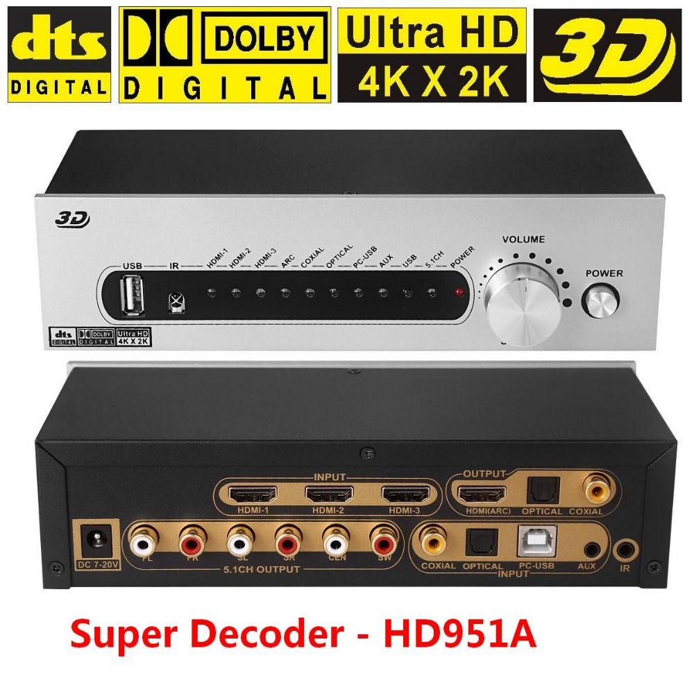HD951A DTS/AC3 5.1 Audio Decoder/Converter 4K*2K HDMI to HDMI Extractor Switcher 3x1  Digital SPDIF Optical Coxial ARC  APE/FLAC us hdmi audio extractor support 5 1ch 4k 3d hdmi to hdmi ac 3 dts audio decoder for hdtv blu raydvd dvd ps3 xbox 360