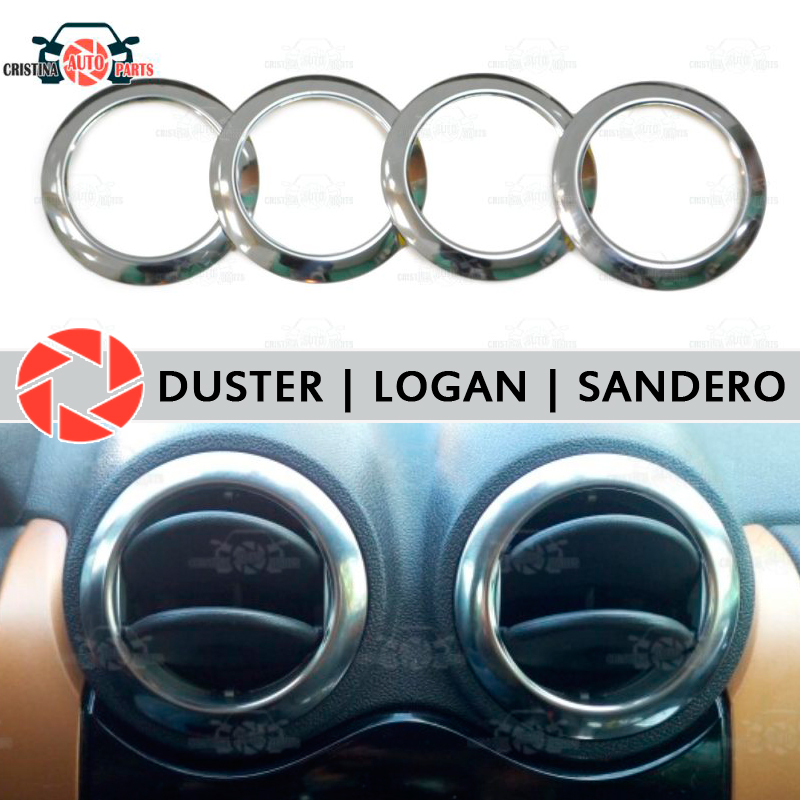 For Renault Duster Logan Sandero Chrome Cap On Air Deflectors Stainless Steel Interior Molding Appearance Car Styling Decoration