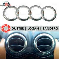 Para Renault Duster Logan Sandero tampa cromada em defletores de ar aparência interior moldagem estilo do carro decoração de aço inoxidável