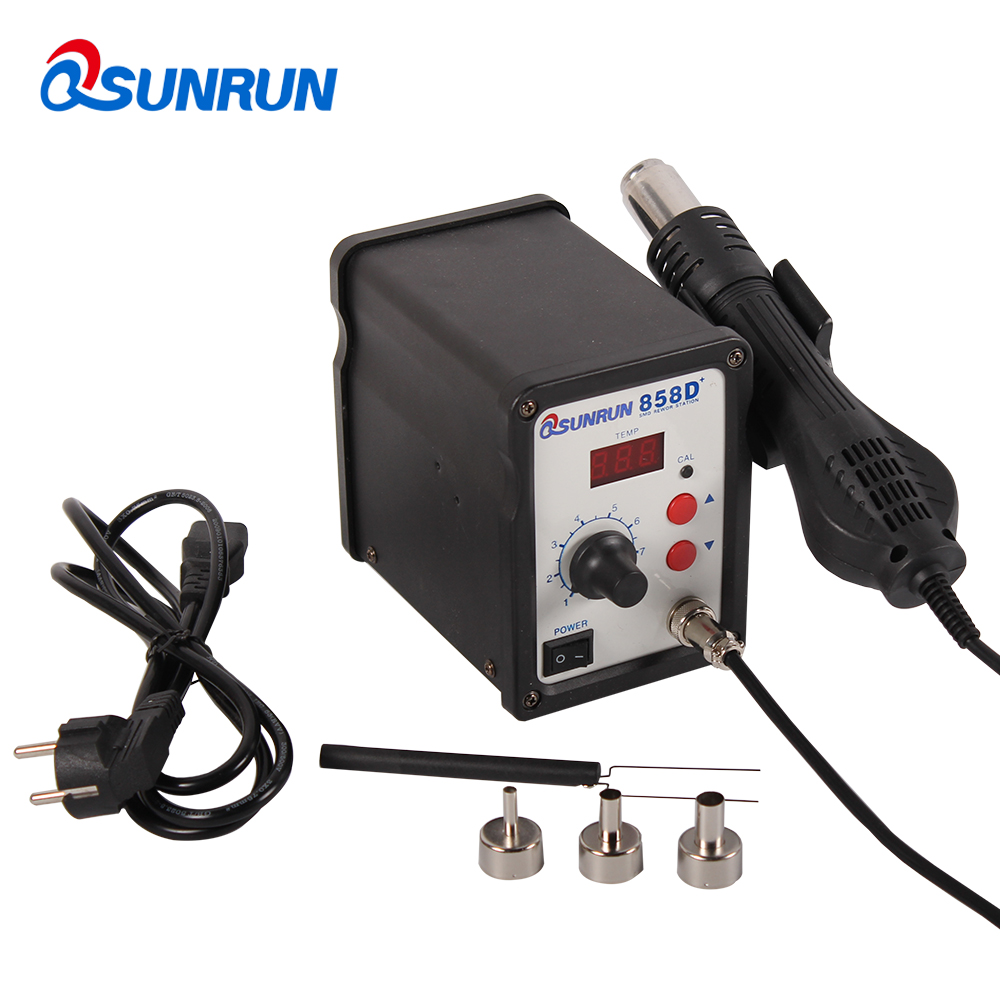 QSUNRUN 858D+ 700W 110/220V LED Display Hot Air Soldering Station SMD Desoldering Solder Iron Used For BGA SOIC CHIP QFP PLCC ad9764arrl 28 soic