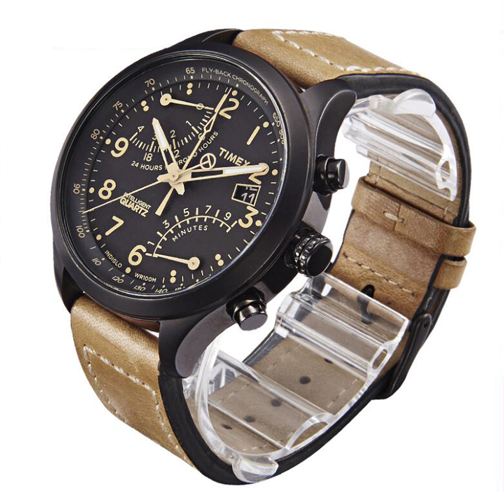 a353ef59d Timex Men's T2N700 Intelligent Quartz SL Series Fly Back Chronograph Brown  Leather Strap Watch 2nd time zone-in Quartz Watches from Watches on ...
