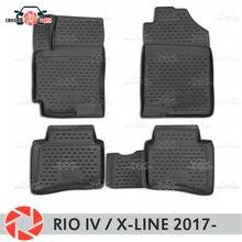 Коврики для Kia Rio IV/X-Line 2017-rugs Нескользящие полиуретан грязи защиты внутренних Тюнинг автомобилей аксессуары