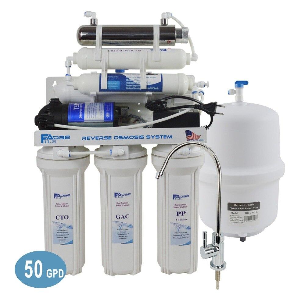 Pod zlewem 7-etapu odwróconej osmozy System filtracji wody pitnej z alkaliczne remineralizacji i sterylizator UV-50GPD