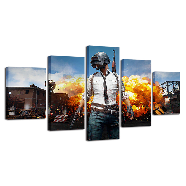 PUBG Hot Game Poster Jedi Survival Battle 5 Piece Canvas Painting Poster Print For Living Room Home Decoration No Frame Pictures 4