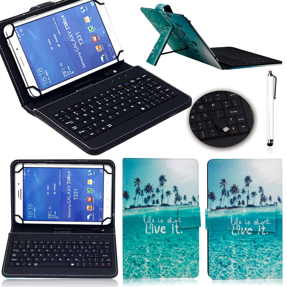 Eagwell Print 10 inch Universal Case Cover With Micro USB keyboard For Android Tablet