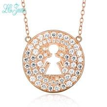Фотография l&zuan Fashion Rose Gold Pendant Necklace 925 Sterling Silver Jewelry Cute Little Girl White Zircon Pendant For Women Gift