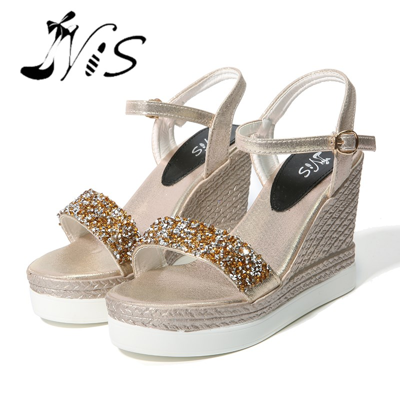 NIS Women Wedges Heeled Shoes, Gold/Silver Glitter Sandals, 3.5cm Platform 10cm Heel Sandals, Sweet Wedge Summer Casual Shoes phyanic 2017 gladiator sandals gold silver shoes woman summer platform wedges glitters creepers casual women shoes phy3323