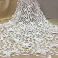 Off White Width 5Yards,Beautiful 3D Bridal Lace Fabric, Beaded Lace Fabric, 3D Rose Lace, Bridal Lace HJ986 2