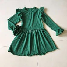 2017Green Spring and Autumn Baby Girls Outfits Infants and Children Fashion Dress Girls Casual Clothing Apparel Ruffle Accessory