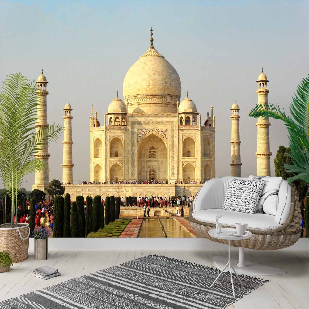 Else  The Taj Mahal Authentic Landscape View 3d Photo Cleanable Fabric Mural Home Decor Living Room Bedroom Background Wallpaper
