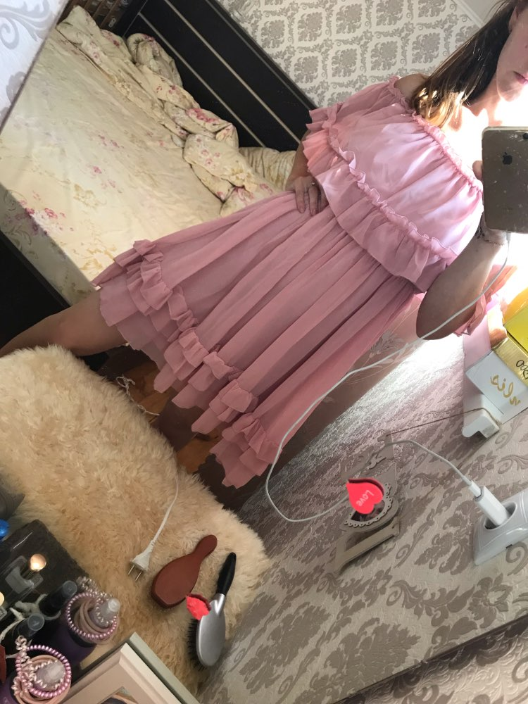 Elegant Ruffle Off Shoulder Women Dress Spaghetti Strap Chiffon Summer Dresses Casual Holiday Female Pink Short Sundress photo review