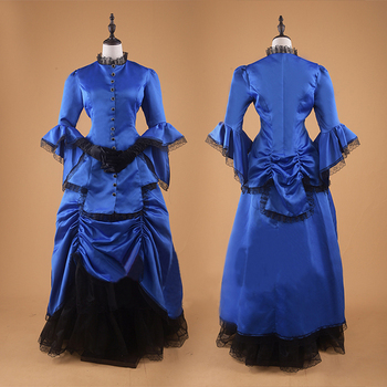 Spring Fashion Women Vintage Victorian Gothic Dress Lace Blue Pleated Prom Gown Halloween Costume Ball Gown Evening Party Dress