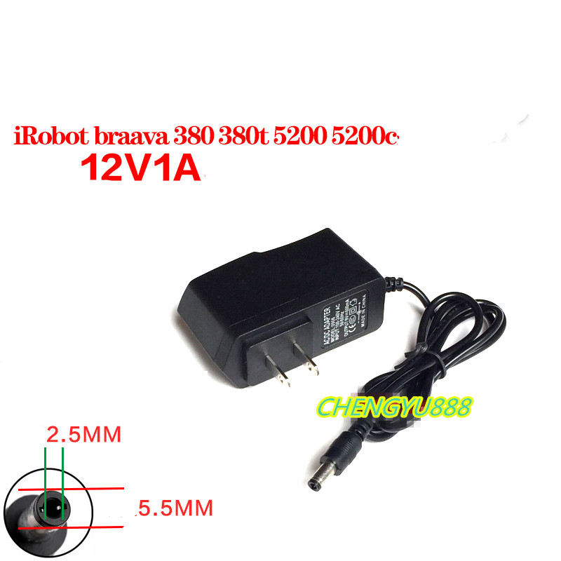 1pcs 5.5*2.5MM 12V 1A power adapter Suitable for <font><b>iRobot</b></font> braava 380 380t 5200 5200c