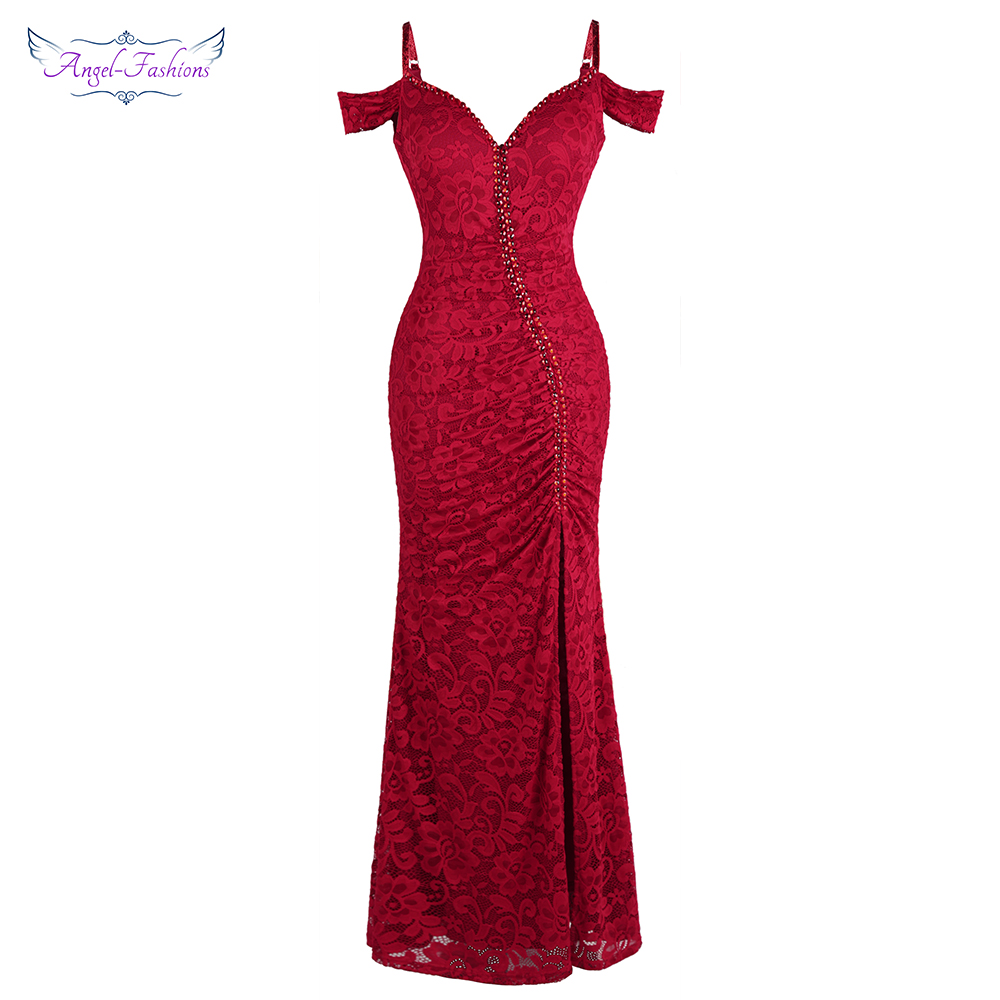 Angel-fashions Women's Robe De Soiree Boat Neck Pleat Lace Beading Split Mermaid Long Red Party Dress  425 200