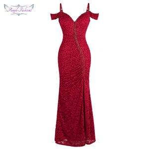 Image 1 - מלאך אופנת נשים של חלוק דה soiree סירה צוואר קפל תחרה ואגלי פיצול בת ים ארוך אדום המפלגה שמלת 425 200